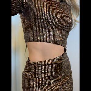 Small, Blanc, golden disco ball bodycon dress